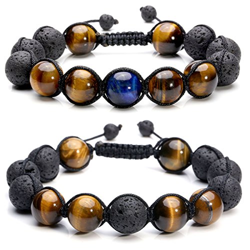 Jovivi 2pcs Lava Stone Diffuer Bracelet Tiger Eye Semi Precious Stone Healing Chakra Beads Macrame Braided Bracelet for His and Hers Couples