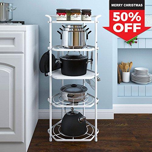 Lifewit Pan Pot Organizer Rack Cookware Stand with 6 Hooks, 5 Tiers Kitchen Storage Rack Corner Shelf, Carbon Steel White