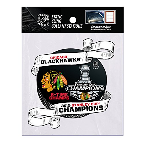 Chicago Blackhawks Official NHL 5 inch Shape Cut Static Cling Window Car Decal by Rico Industries 887742