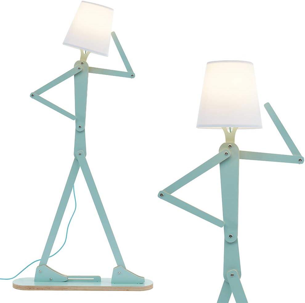 HROOME Cool Tall Decorative Floor Lamp Unique Aqua Blue Color Standing Adjustable Corner Reading Wood Lights for Living Room Kids Bedroom Office - LED Bulb Included (Green)