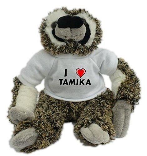 Bradypus de peluche con Amo Tamika en la camiseta (nombre de pila/apellido/apodo)