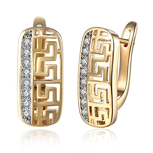 MAIHAO Champagne Gold Great Wall Lines Ear Clip Diamond Earring Great Wall Pattern Earrings Super Flash Single Row Diamond Earrings Girl Gift Birthday - Wall Single Openwork