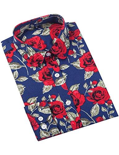 XI PENG Women's Fashion Feminine Tops Blouse Work Button Down Long Sleeve Floral Dress Shirts (Large, Peony Flower-Navy Blue)