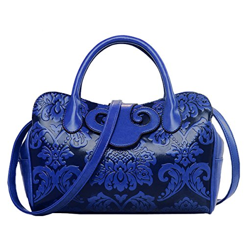 Women PU Leather Embossing Classic Top-handle Handbag Messenger Bag Shoulder Bag Chinese Style (Blue Leather Handbags)