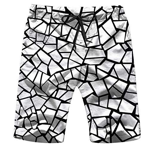 Pillow Glass Mosaic - Cool pillow Stone Broken Glass Mosaic Mens Boardshorts Swim Trunks Quick-Drying Running Shorts M