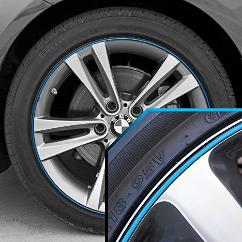 Wheel Bands Sky Blue in Black Pinstripe Edge Trim for BMW 3 Series 13-22' Rims UpgradeYourAuto