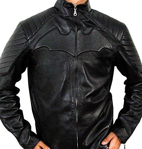 Bat Black Leather Biker Jacket - Superhero Jackets For Boys - Biker Jacket Costume