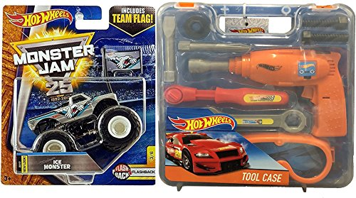 Ice Racing Screws (Hot Wheels Tool Kit Case Fun Pack Tools wrench / screwdriver / Drill / Racing Goggles + Michigan Ice Truck Flashback with Team Flag)