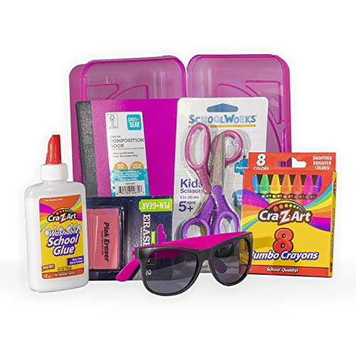 16 pc Back to School K - 4th Grade Elementary School Supply Kit - Pink Pencil Box with Pink Sunglasses, Glue, erasers, Crayons, a Pink Journal and a Pair of ()