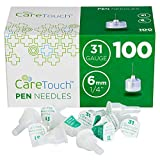 Care Touch Insulin Pen Needles 31 Gauge, 1/4 Inches, 6mm - 100 Pen Needles