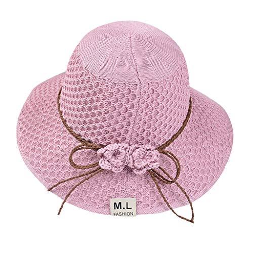 HYIRI Women's Soft Cancer Chemo Beanie Beach Bow Straw Flat Brim Sun Hat Cap Pink ()