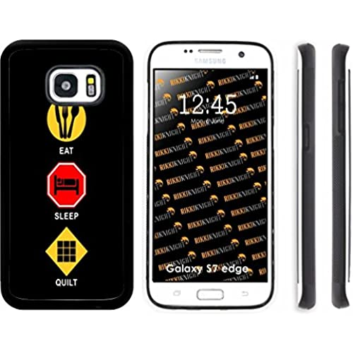 Rikki Knight Eat Sleep Quilt Design Samsung Galaxy S7 Edge Case Cover (Black Rubber with front Bumper Protection Sales