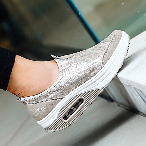 Estilo CONMING la Ligeros el Inferior Talón Amortiguador Gray Simples Mujer Respirables para Zapatos con Aire Cuña Viaje Zapatos de con de Gruesa de ESw1A7vcq