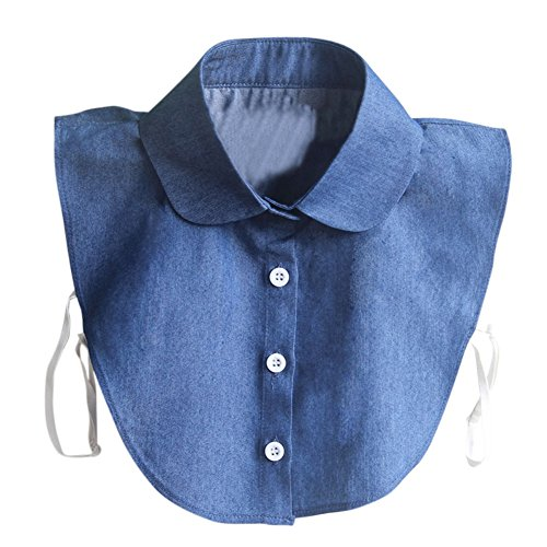 Norbi Women Vintage Lace Detachable Fake Half-Shirt Collar Denim Collar Denim Shirt