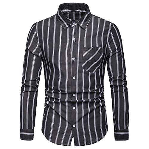 Fxbar,Relax Daily Wear Men's Blouse Button Down Men's Adult Pullover Tops(Black,S) ()