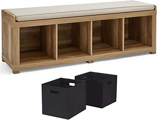 Better Homes and Gardens Gorgeous Stylish 4-Cube Sturdy Organizer Storage Bench with Fabric Storage Bins, Weathered