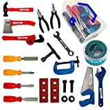 KEJIH 20 Pieces Kids Tool Set Toy, Educational Pretend Play Toys, Come With a Handy Storage Box