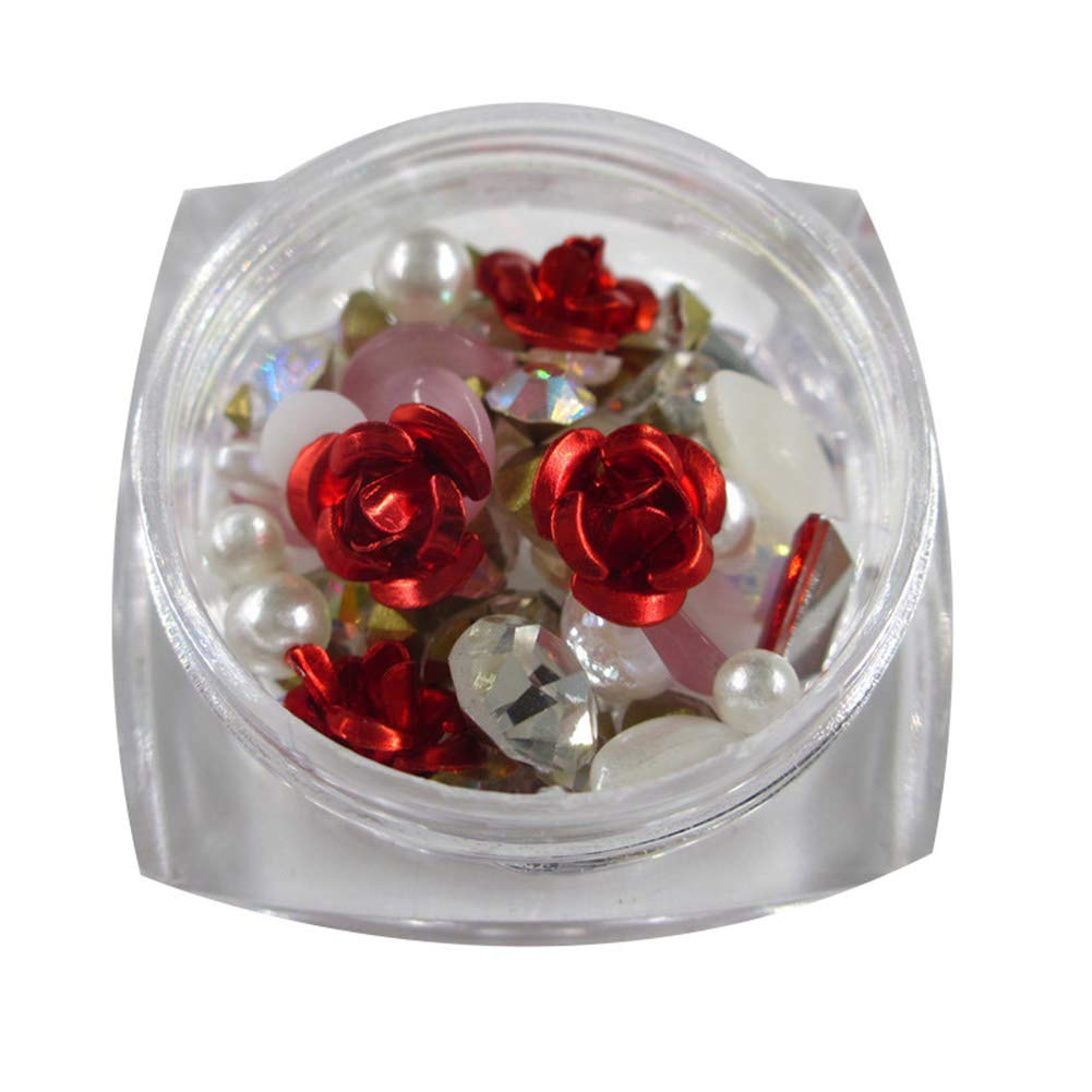 Yamalans Multi-shape Rose Flower Faux Pearl Rhinestone Beads 3D Nail Art Tips DIY Manicure Decor Charms for Jewelry Phone Case Red