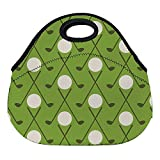 DKISEE Vintage Golf Pattern Large & Thick Neoprene Lunch Bags Insulated Lunch Tote