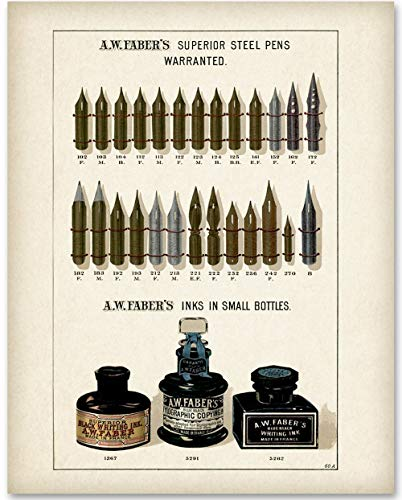 Faber Nibs and Ink - 11x14 Unframed Art Print - Great Gift for Calligraphers, Fountain Pen Lovers, and Artists from Personalized Signs by Lone Star Art