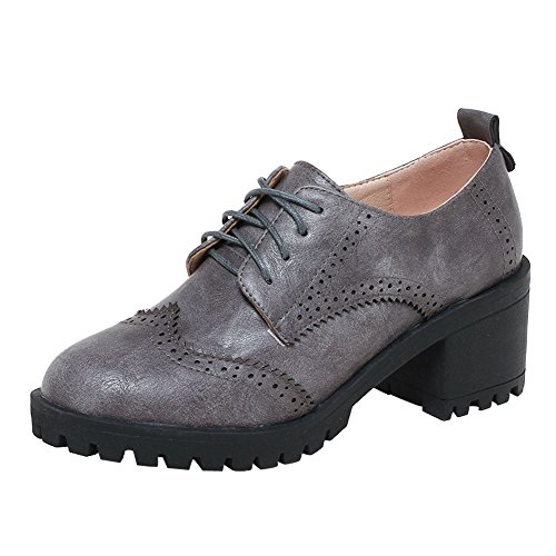 Women's Chunky up Show Heel Shoes Grey Casual Oxfords Shine Lace 54g7nFq