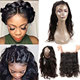 Cheap Pre Plucked 360 Lace Frontal Malaysian Virgin Hair Body Wave Natural Hairline 360 Lace Frontal Closure with Baby Hair (18inch (360 frontal), Natural Color)