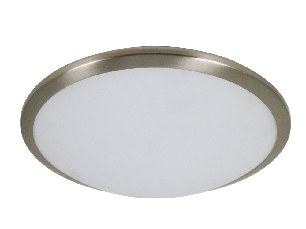 Lighting Collection Led Bathroom Ip44 Flush, Satin Silver Trim, Frosted Glass Shade-Dia 30Cm, Steel, 12 W, Chrome 79381-12W