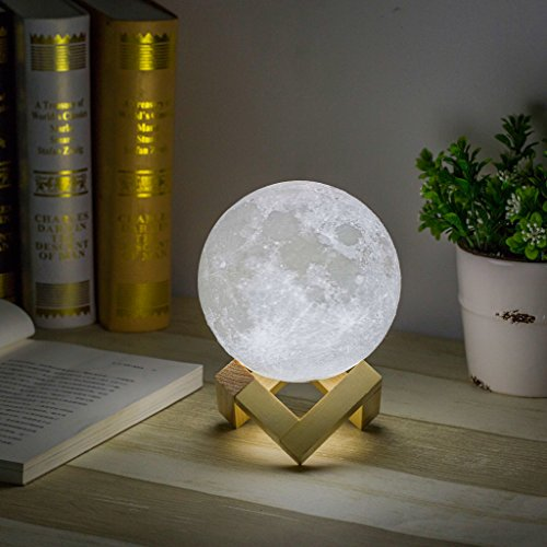 Mydethun Moon Light Night Light for Kids Gift for Women Moon Lamp USB Charging and Touch Control Brightness Two Tone Warm and Cool White Lunar Lamp (4.7IN) by Mydethun (Image #5)