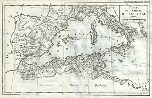 Historical 1770 Delisle de Sales Map of the Empire of Carthage (North Africa, Spain, Italy) |24 x 36 Fine Art Print | Antique Vintage Map by historic pictoric