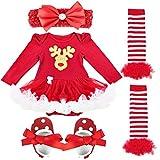 YiZYiF Baby Infant Girls Christmas Romper Tutu Set First Christmas Clothing Set Red Deer 0-3 Months