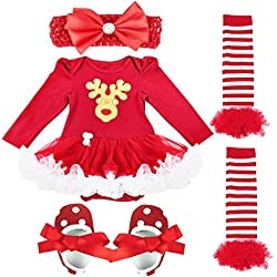 iEFiEL Baby Girls Christmas Picture Skirt Bodysuit Headband Leg Warmer Shoes Set (6-9 Months, Xmas Deer)