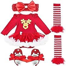 TiaoBug Baby Girls Xmas Santa Outfits Tutu Romper With Headband Leg Warmer Shoes