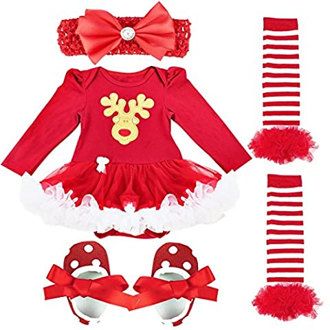 FEESHOW Baby Girl My First Christmas Tutu Outfit Dress Leg Warmer Shoes Headband (0-3 Months, Red Xmas Reindeer)