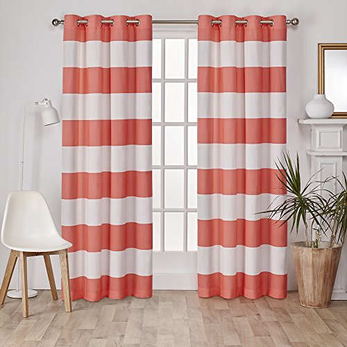 Marvelous Exclusive Home Curtains Surfside Cotton Cabana Stripe Grommet Top Window  Curtain Panel Pair, Coral, 54x96