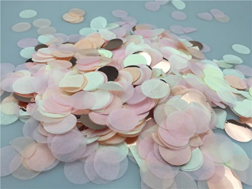 Mix Color Tissue Paper Confetti, Rose Gold Throwing Confetti, Round Party Confetti, 50 Grams for Flower Shower,Wedding,Engagement Party, Bridal Baby Shower,1 Inches Wide (Ivory ,Pink,Peach ,Rose - Wedding White Invitations Snow