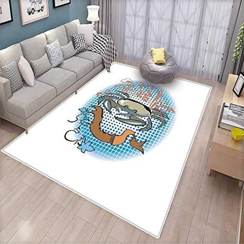 Crabs Customize Door mats for Home Mat Cancer Sign in Cartoon Tattoo Style Astrological Theme with Floral Details Horoscope Door Mat Outside Multicolor -