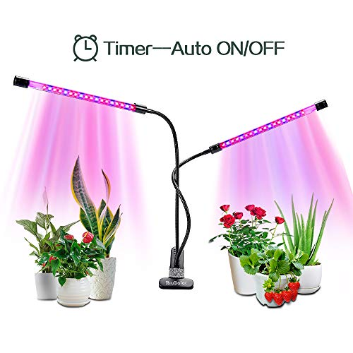 Grow Light 18W Dual Head Timing, Growing Lamp with Auto On/Off Function Full Spectrum, Clip-On Desk Lamp, Gooseneck, 3/6/12H Timer, 5 Level Dimmable Levels for Indoor Plants, Succulent, Foliage