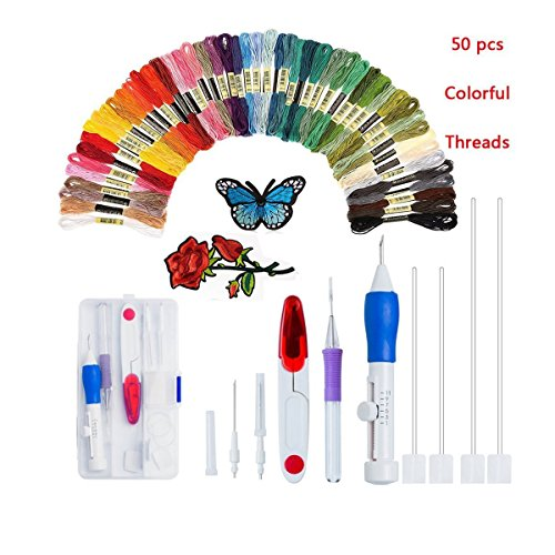 Embroidery Pen Starter Kit Stitching Punch Needle Craft Tool Set with Embroidered Patterns and 50 Color Threads for DIY Sewing Cross Stitching by TOPWOOZU