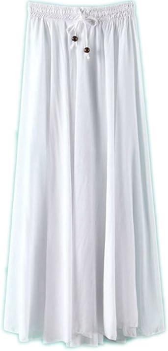 Falda Larga Mujer Cintura Larga Camiseta Maxi Faldas Blanco One ...