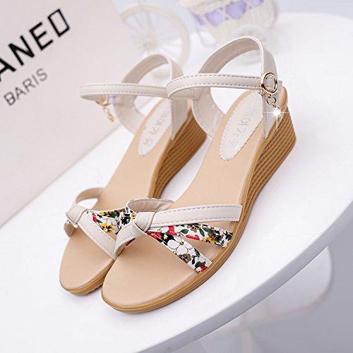 Moda Mujer verano sandalias confortables tacones altos,41 beige White