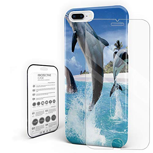 Three Dolphins and Blue Sky Phone Case Slim Hard PC Back Cover with Glass Screen Protector Set for iPhone 7 Plus/8 Plus