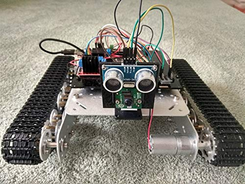 Robot Tank with Raspberry Pi + GPS, Camera, Distance Meter (Everything Included), AI Ready (OpenCV, Tensorflow preinstalled), Live Video, Android Application (Best Camera For Opencv)