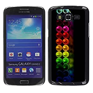 Paccase / SLIM PC / Aliminium Casa Carcasa Funda Case Cover para - Crayons Colors Pastel Black - Samsung Galaxy Grand 2 SM-G7102 SM-G7105