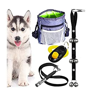 AMZpets Puppy Training Set. Dog Clicker, Treat Pouch with Poop Bag Dispenser, Potty House Train Door Bells, Dogs Whistle To Stop Barking and Teach Tricks. Puppies Supplies Starter Kit 19