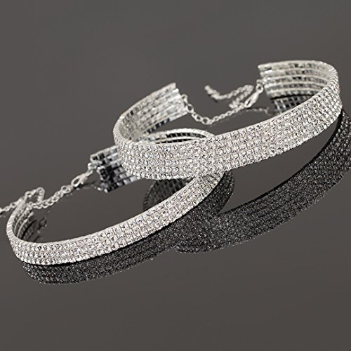 Naimo 3pcs Diamond Crystal Rhinestone Choker Necklace Wedding Collar Necklace (Included 3/4/5 row) by Naimo (Image #2)