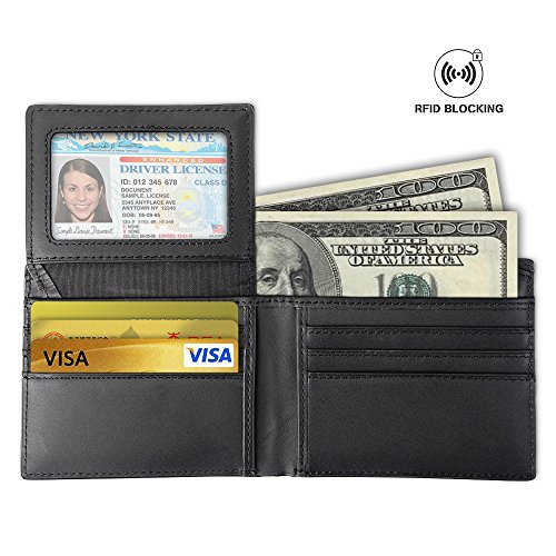 MCOCEAN RFID Blocking Leather Wallet - Bifold Security Credit Card Protector for Men
