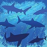16-Count Paper Beverage Napkins, Shark Splash Birthday