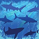 16-Count Paper Beverage Napkins, Shark Splash Birthday
