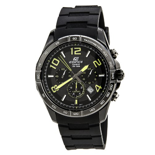 Black Stainless Edifice Chronograph Rubber