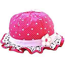 Dealzip Inc▒ Cute Baby Hats Wide Brim Polka Dots and Heart-shaped with One Flower Bowtie Cap for Baby Kids Girls - Hot Pink Large 14-26